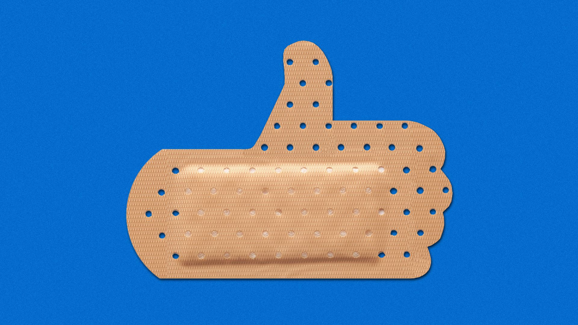 Illustration of a band-aid in the shape of a thumbs up