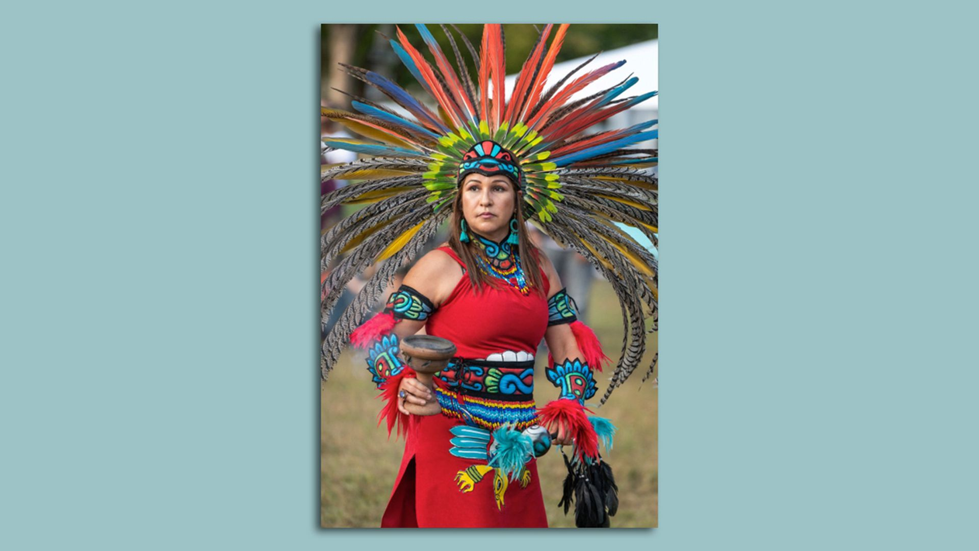 Campatlanezi (Danza Azteca del Anahuac) seen here during an event celebrating Indigenous Peoples' Day in 2019 at Penn Treaty Park. Photo courtesy of Indigenous Peoples' Day Philly Inc