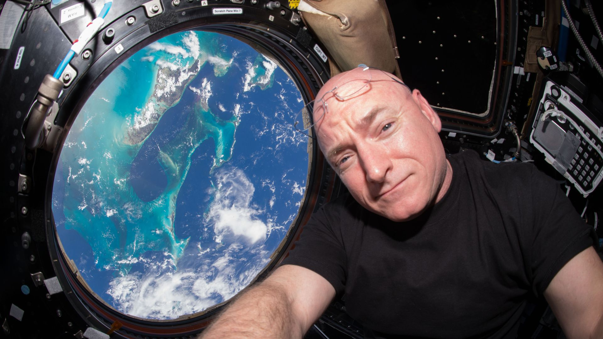 NASA astronaut Scott Kelly is seen inside the International Space Station on July 12, 2015.
