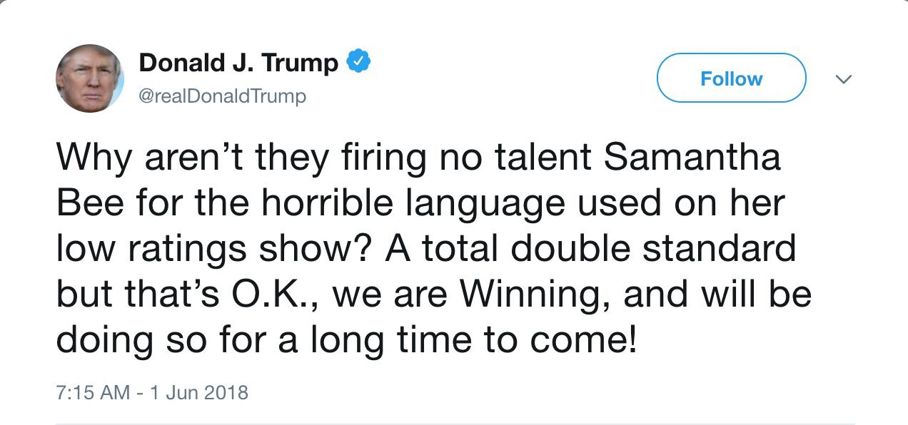 Donald Trump tweeted today that Samantha Bee should be fired for insulting Ivanka Trump