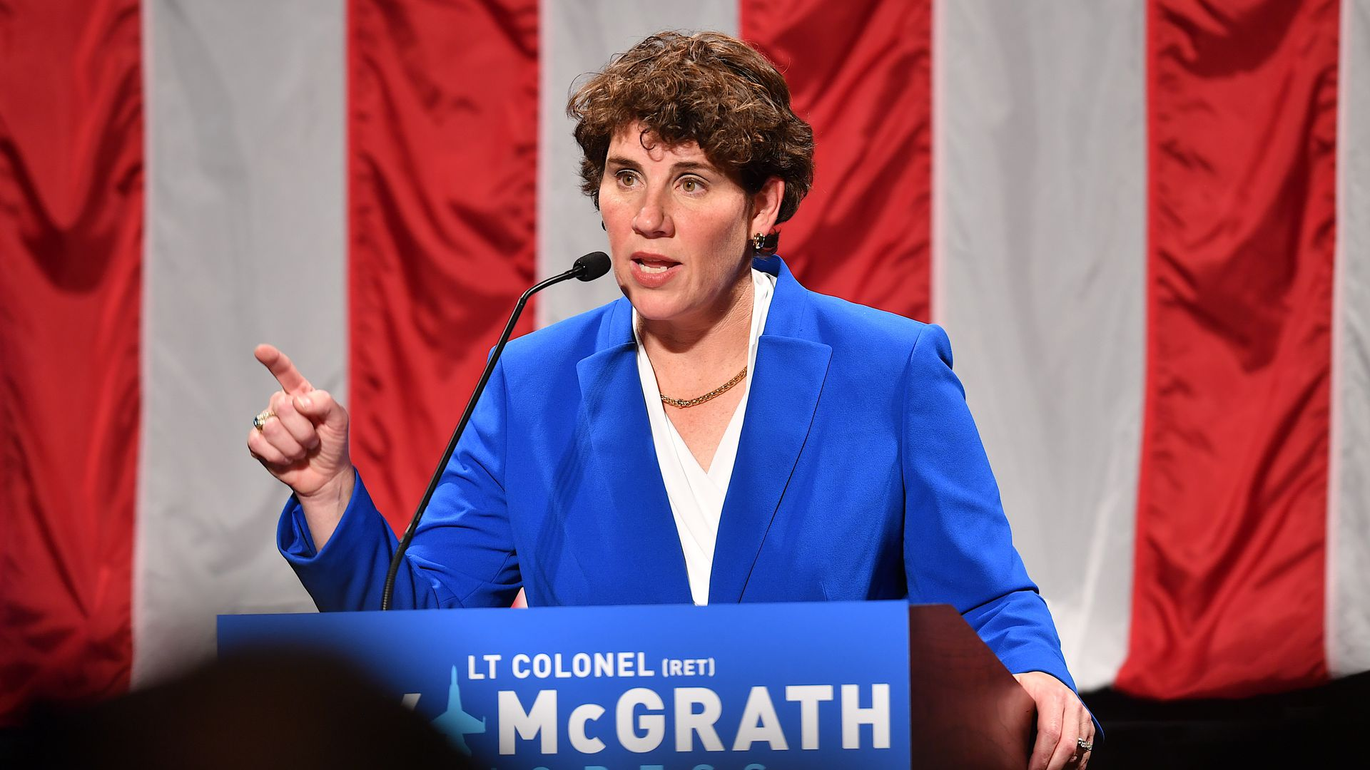 Amy McGrath address supporters after her loss during her Election Night Event at the EKU Center for the Arts on November 6, 2018.