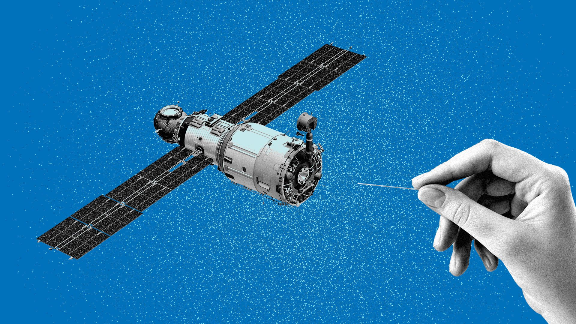 Illustration of an orbiting satellite about to be punctured by a pin.