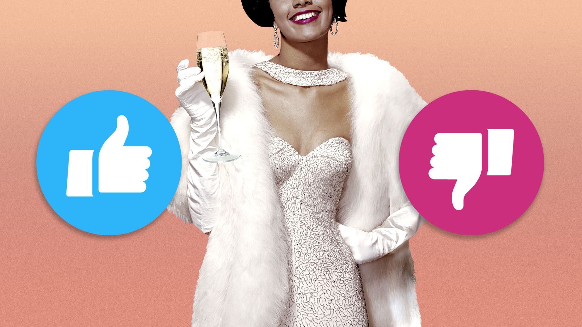 Illustration of wealthy woman in fur coat with like and dislike icons next to her