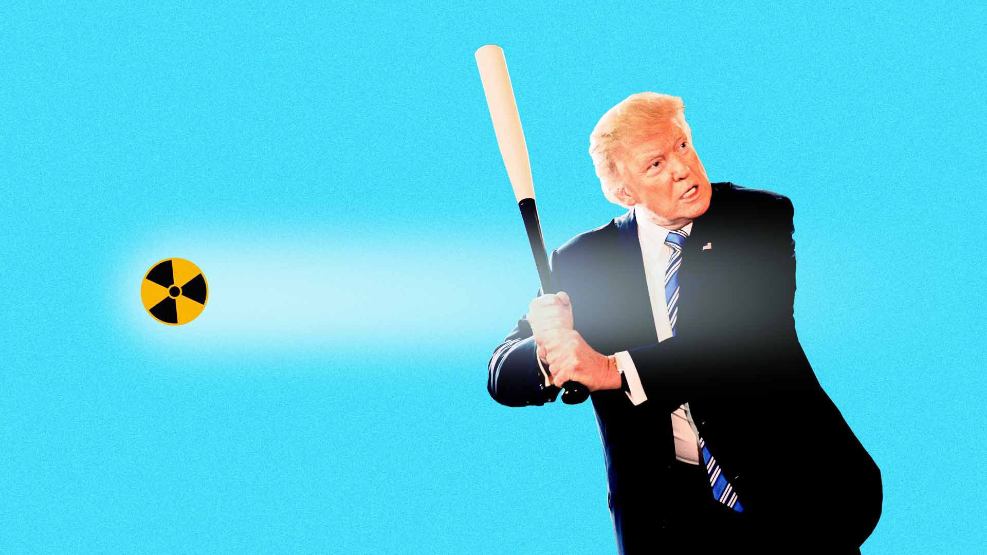 Illustration of Trump holding a bat as a baseball with a nuclear image goes past him