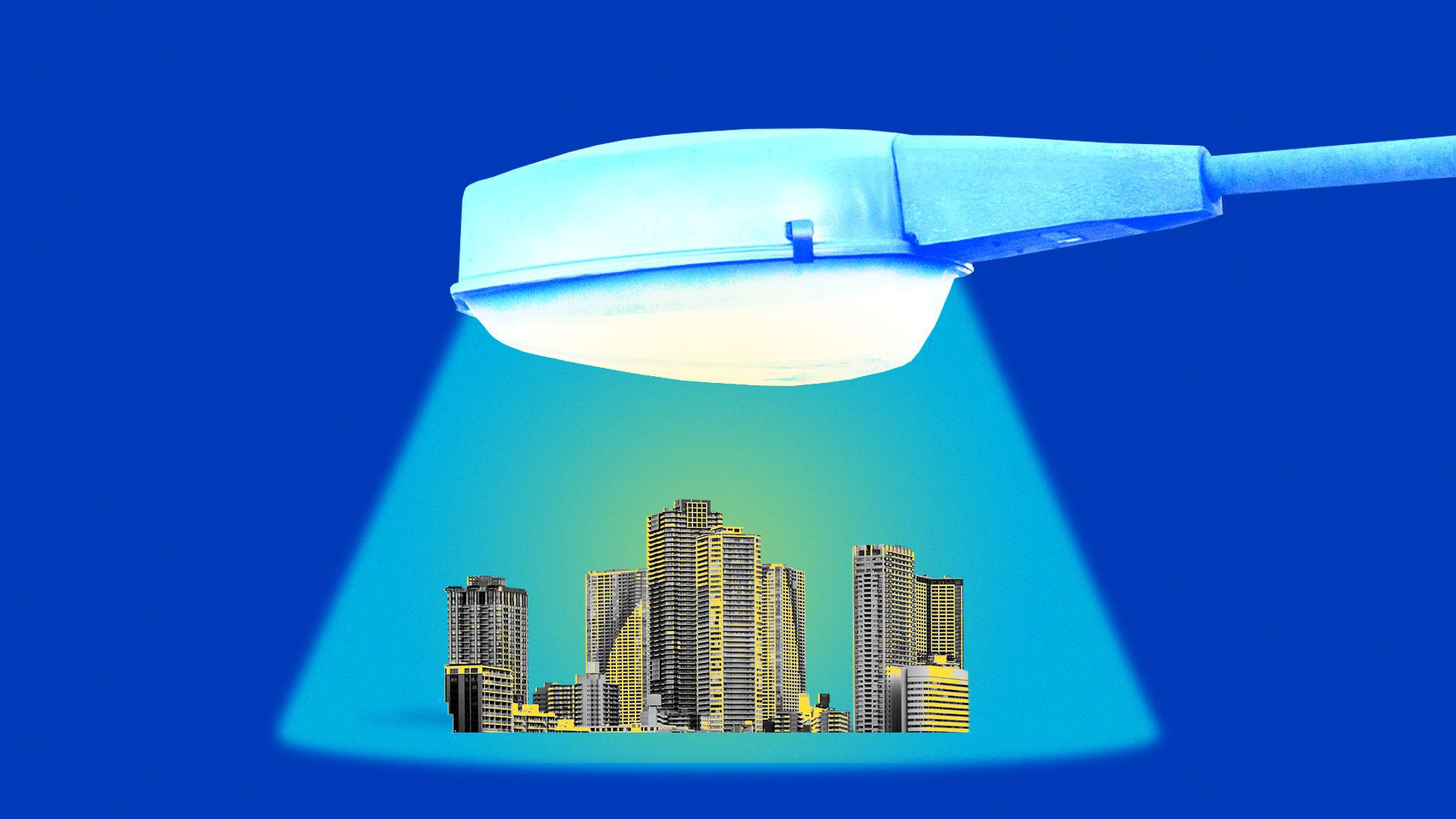 Illustration of a giant street lamp lighting a small city