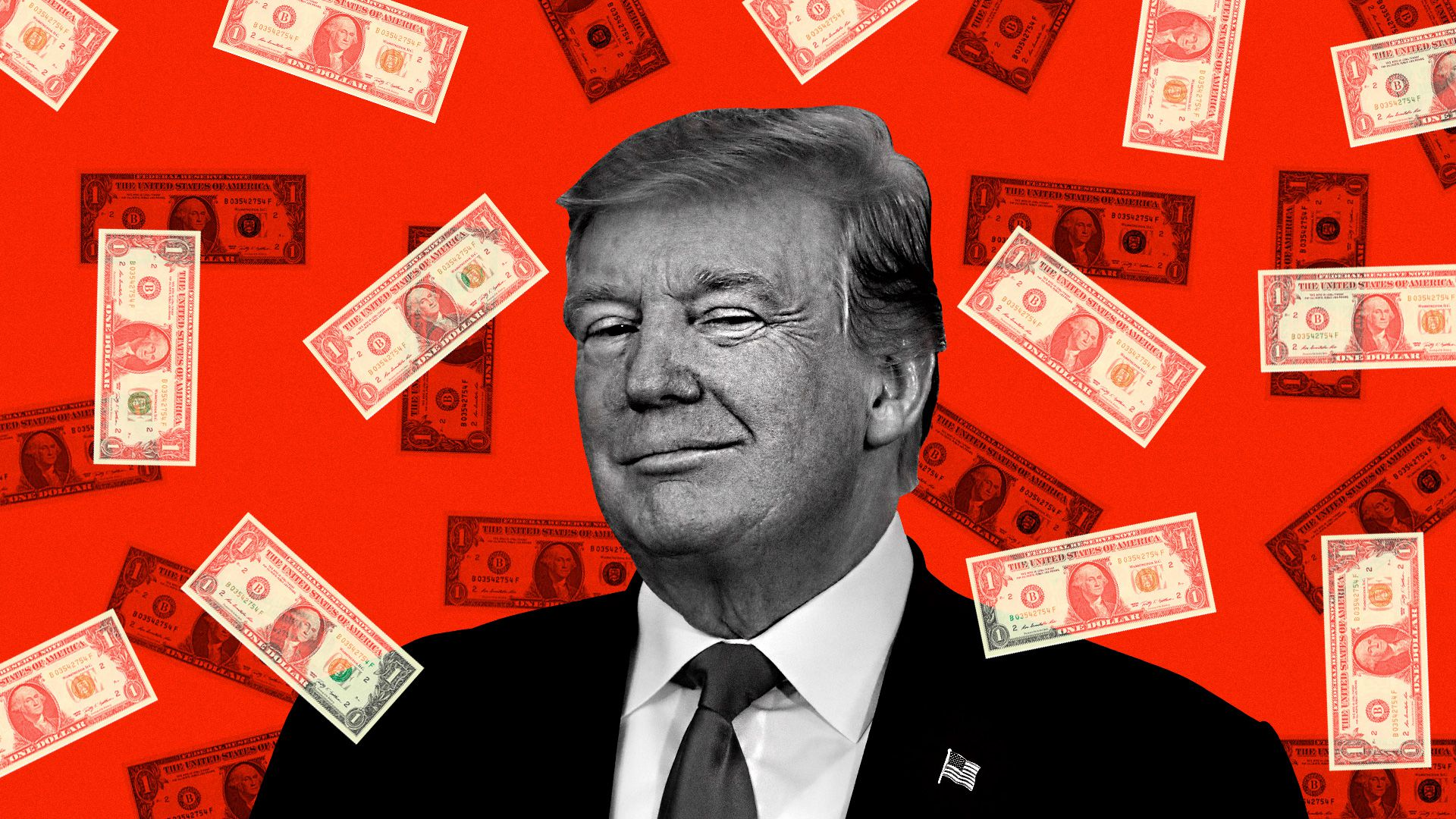 Trump smiling while dollar bills are raining all around him
