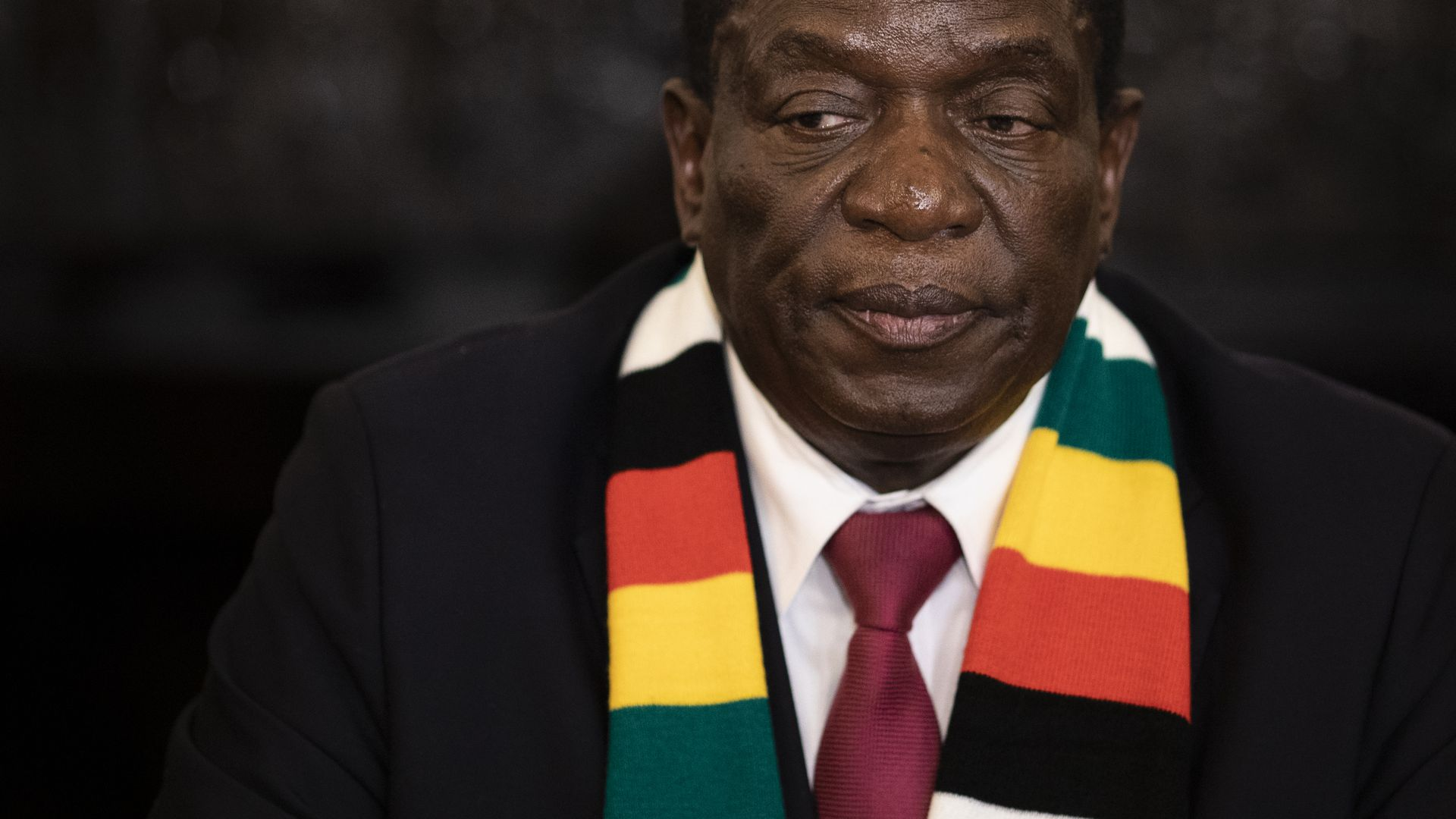 President Elect Emmerson Mnangagwa attends a press conference on August 3, 2018 in Harare, Zimbabwe. .