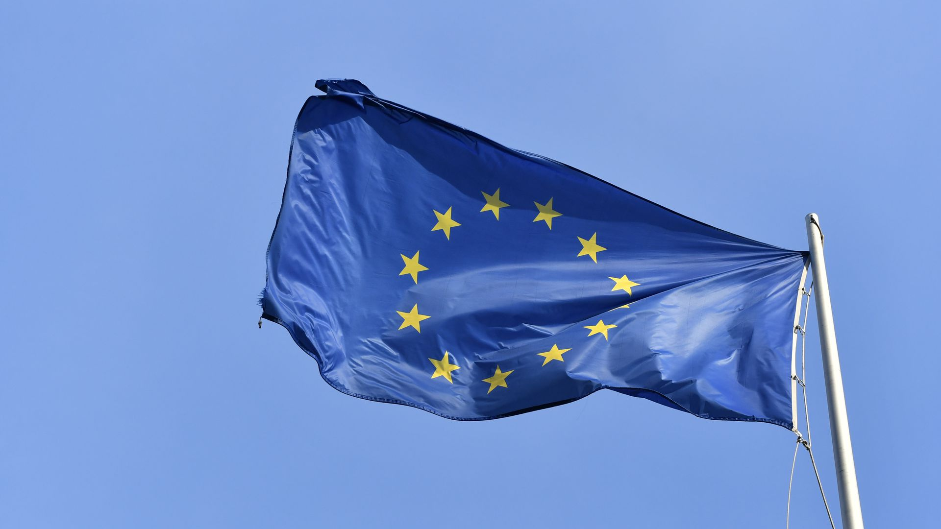 A European flag waving