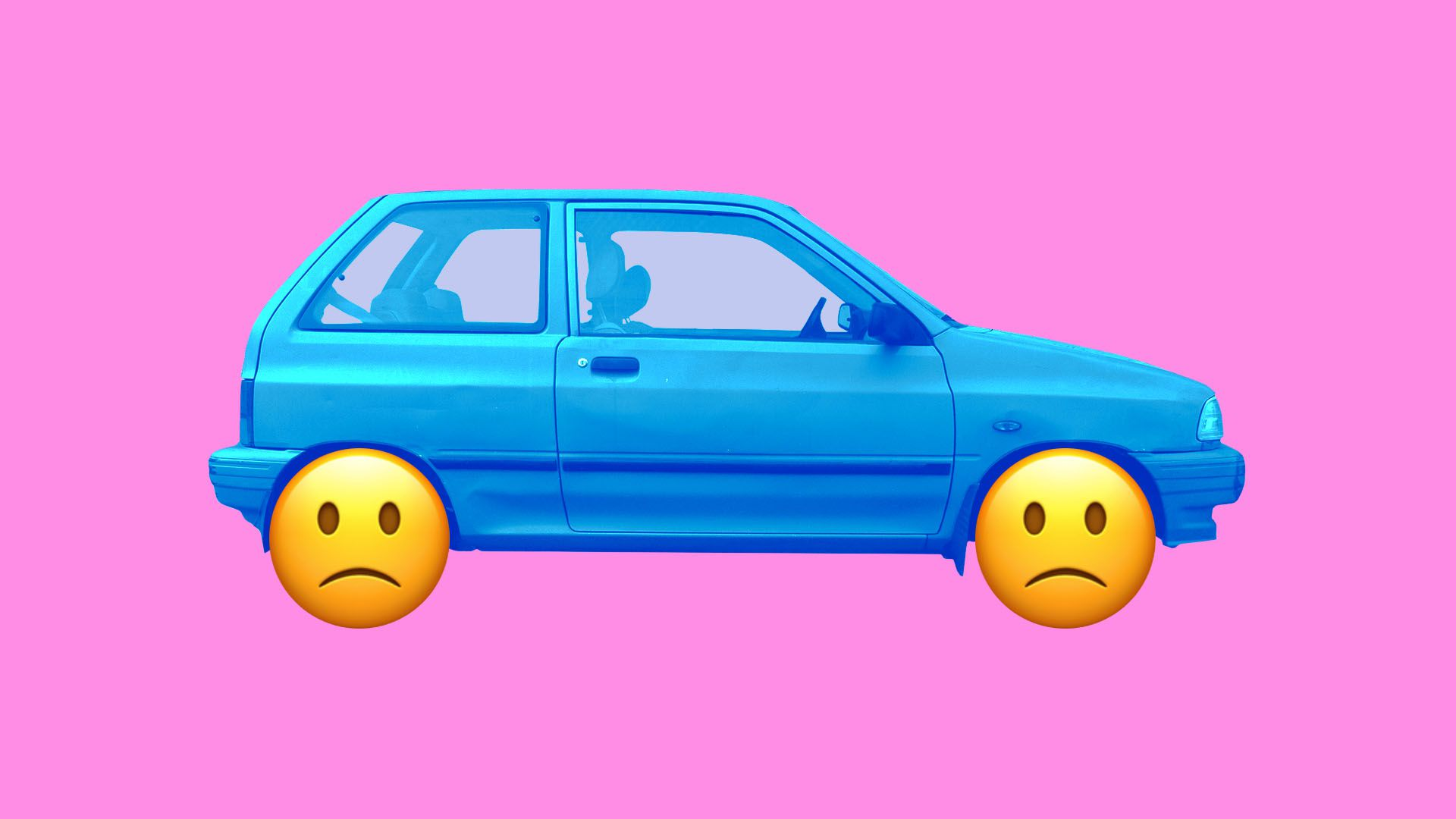 Illustration of a car with sad emojis instead of wheels