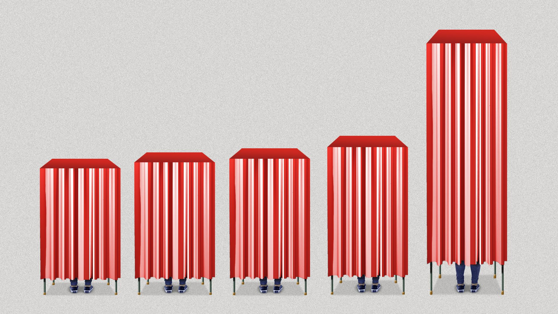 In this illustration, a series of voting booths get longer over time, like a bar chart.
