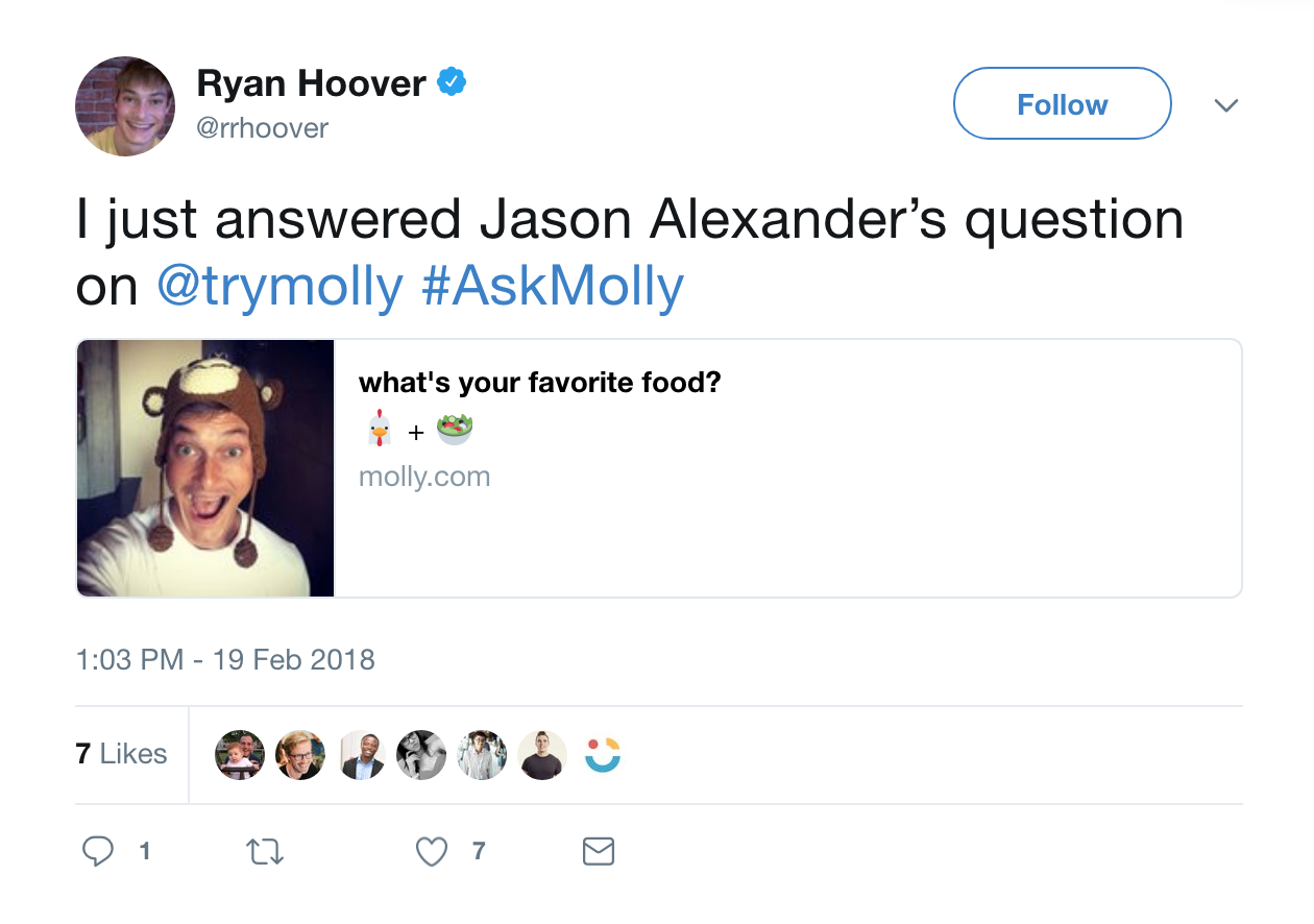 Product Hunt founder Ryan Hoover answers a question on Molly.