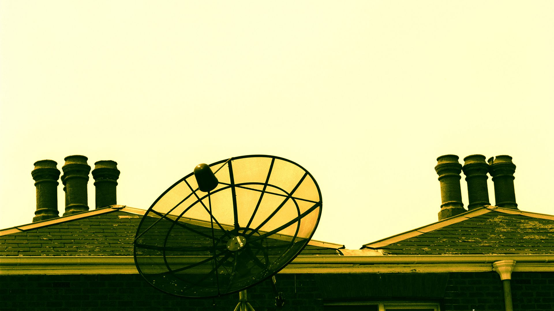 satellite dish on a rooftop
