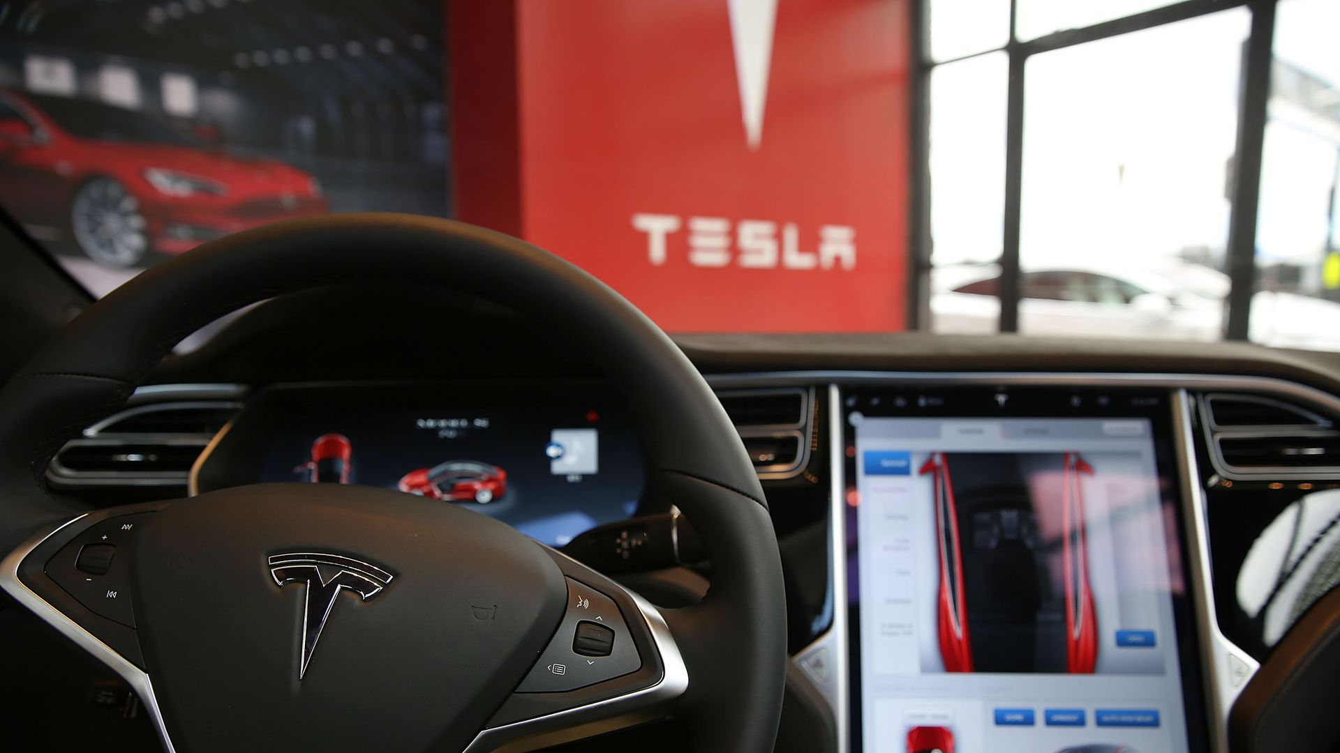 View from inside Tesla car with autopilot feature