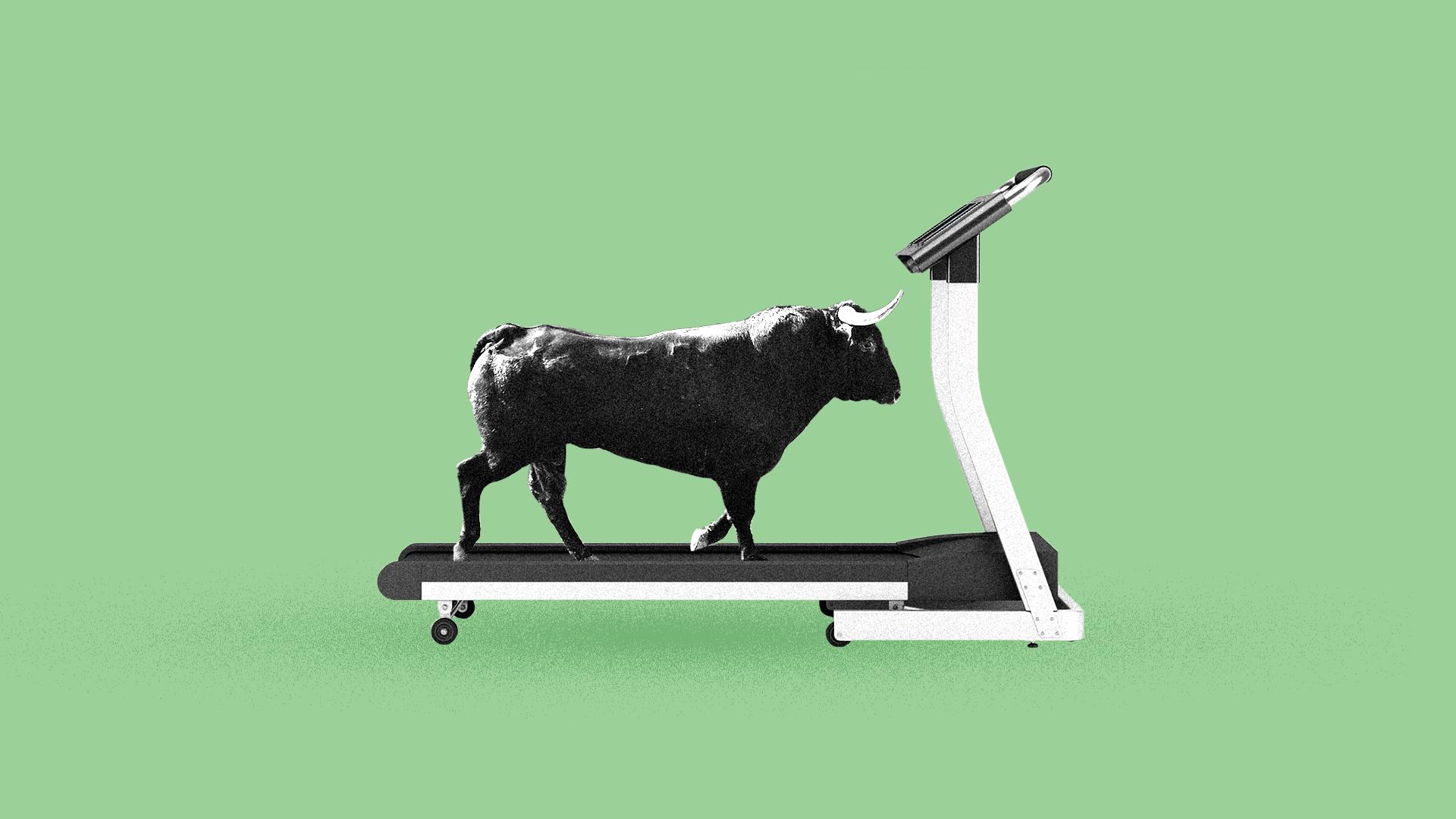 Illustration of a bull on a treadmill