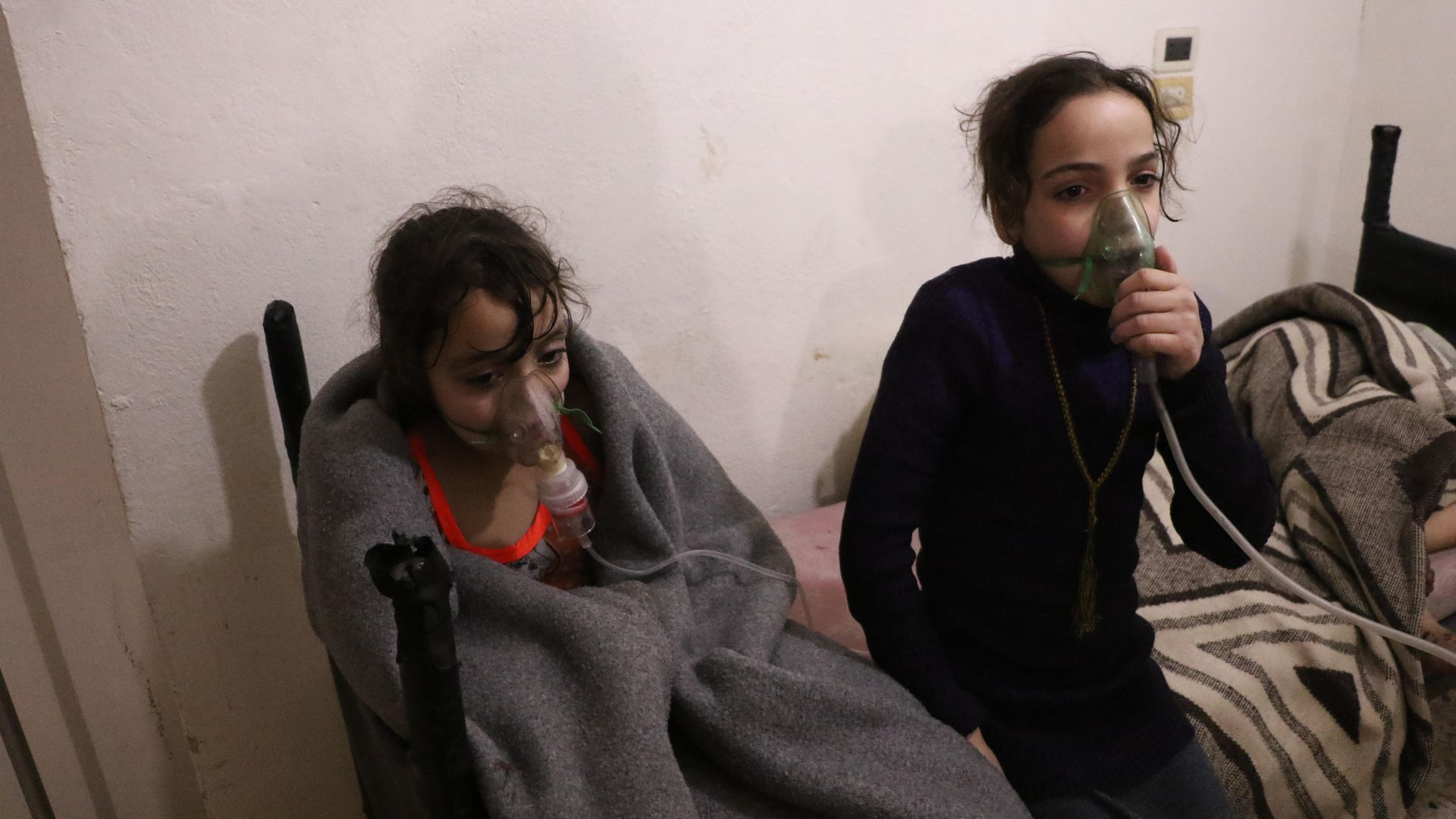 Affected children receive medical treatment after Assad regime forces conduct allegedly poisonous gas attack in Eastern Ghouta on March 7.