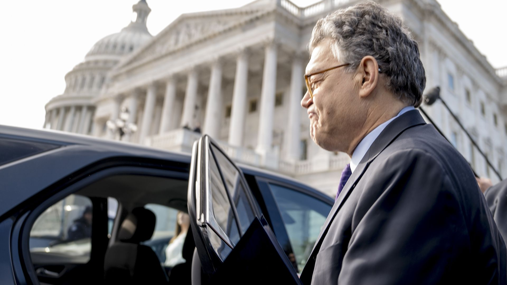 Al Franken leaves the Capitol