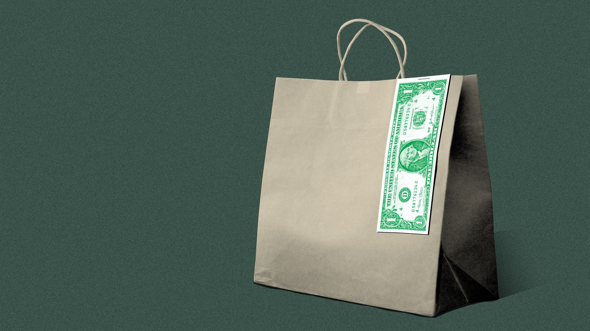 Illustration of a food delivery bag, with a dollar stapled to it instead of a receipt.