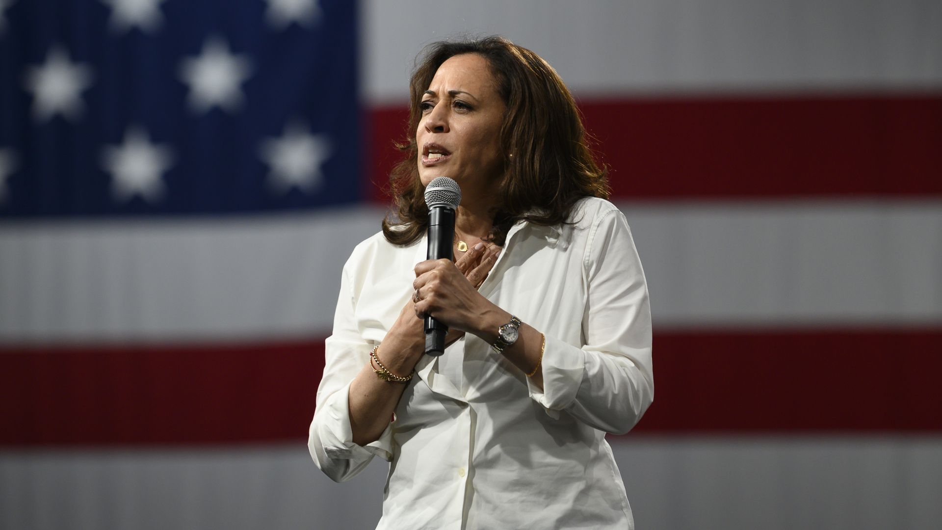 Democratic presidential candidate Sen. Kamala Harris (D-CA) speaks on stage during a forum on gun safety at the Iowa Events Center on August 10, 2019 in Des Moines, Iowa.