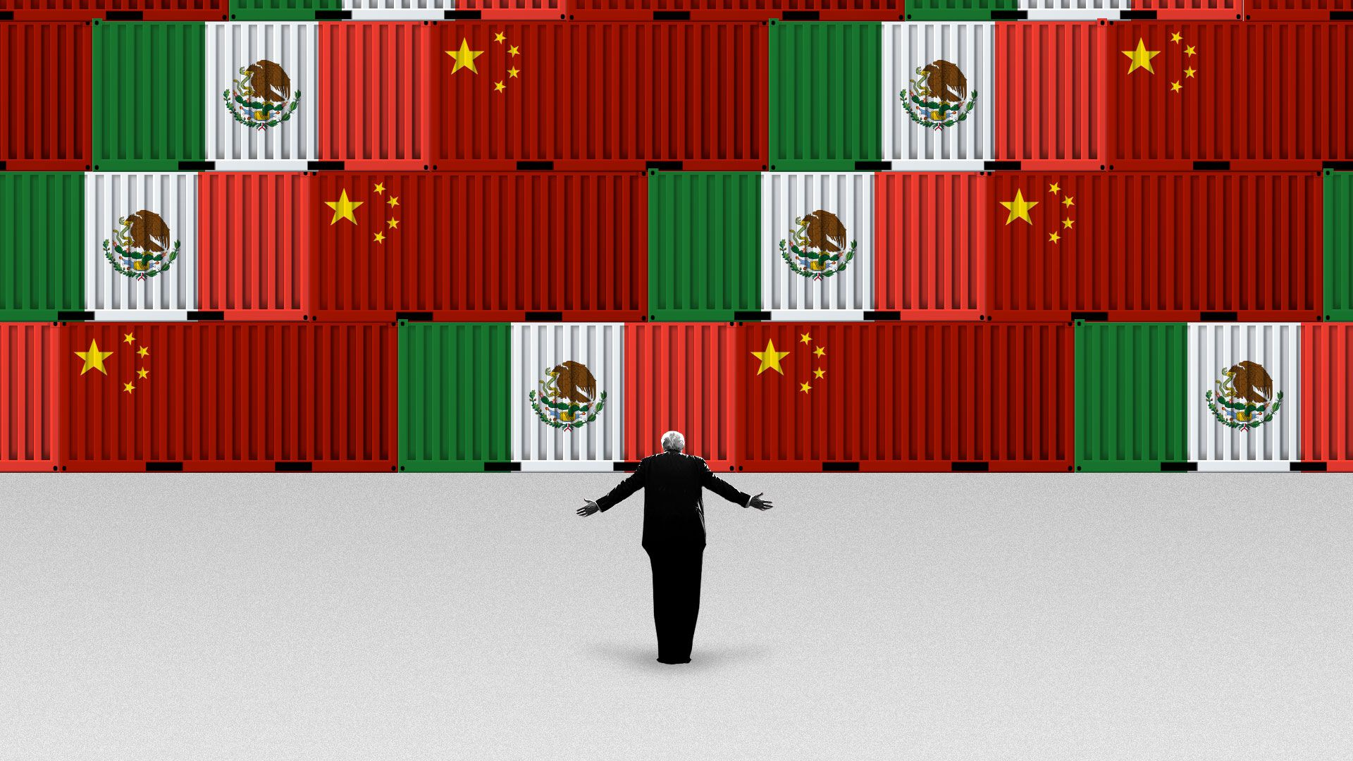 Illustration of President Trump standing in front of a wall of shipping containers with the flags of China and Mexico on them.