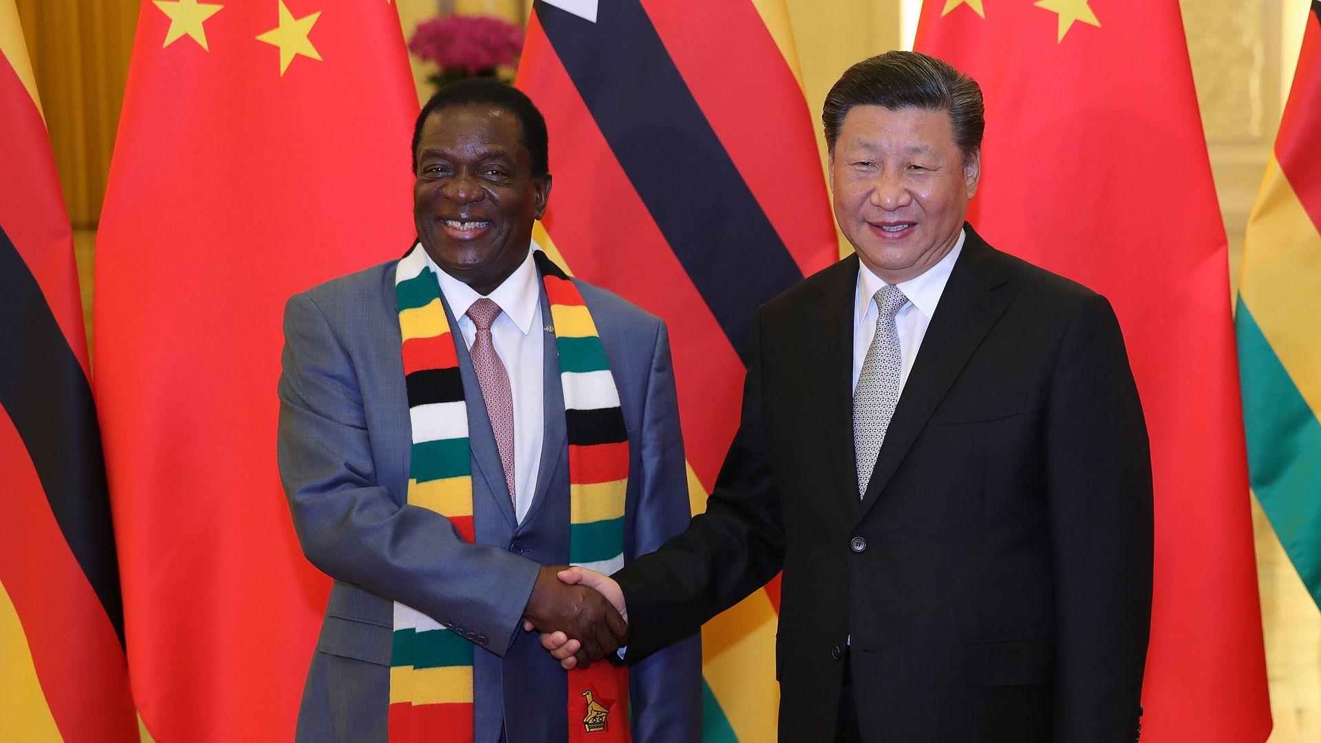 Zimbabwe president with Chinese president Xi