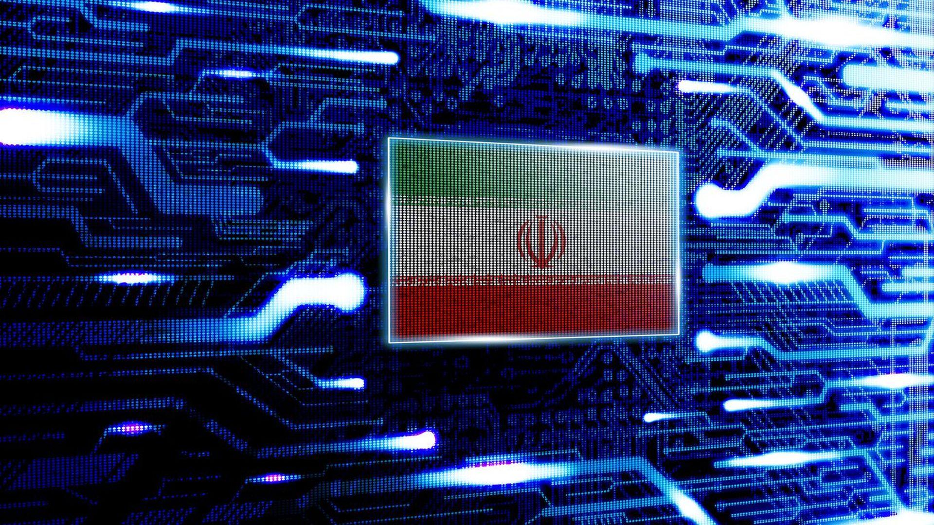 The Iranian flag appears in a futuristic illustration.