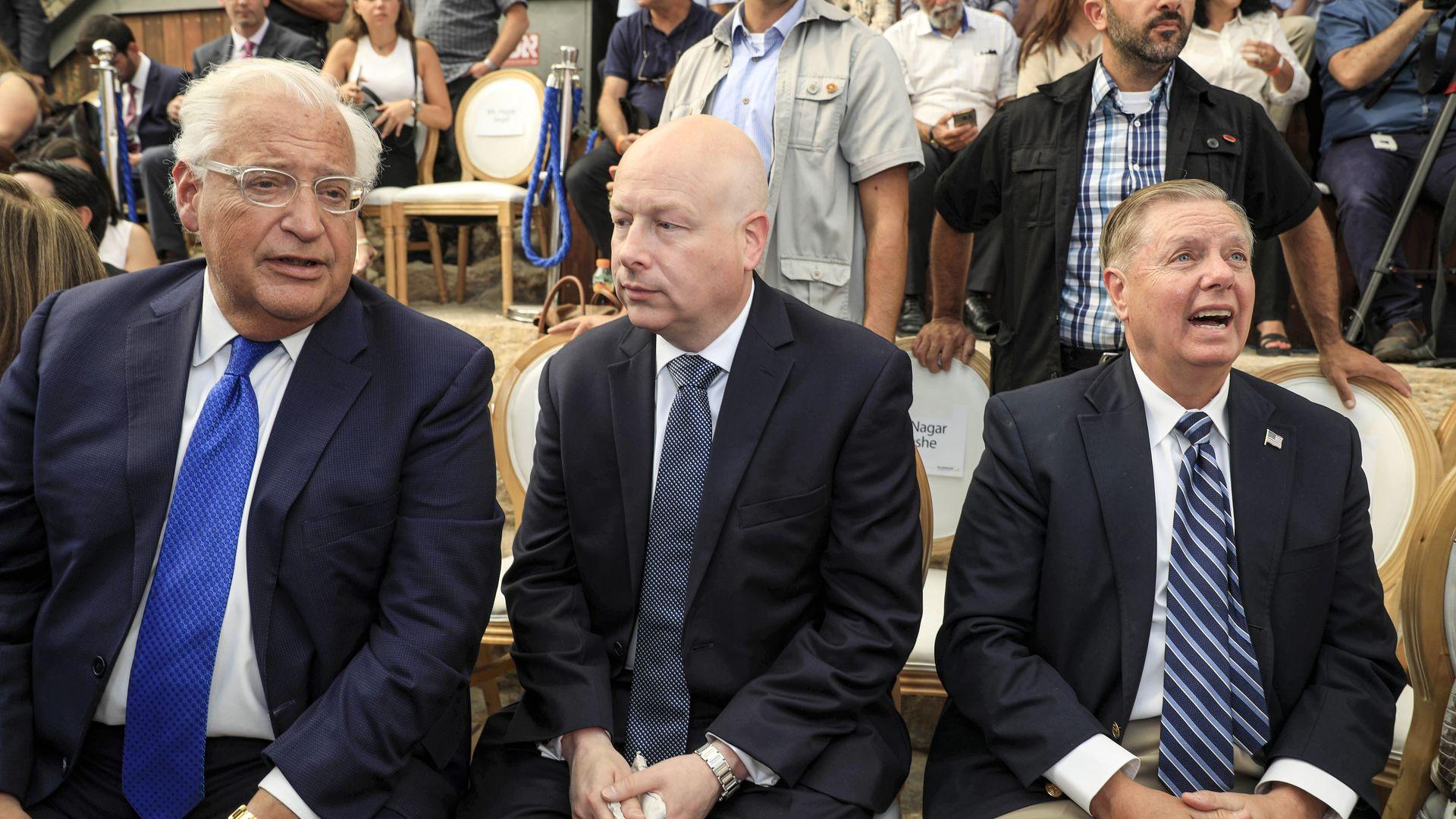 David Friedman, Jason Greenblatt and Lindsey Graham