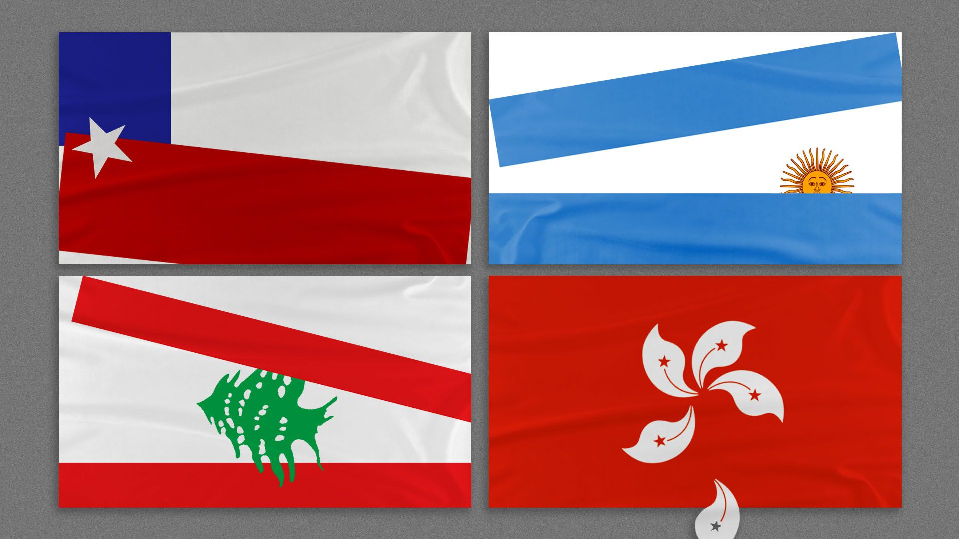 Illustration of the flags of Chile, Argentina, Lebanon, and Hong Kong, all in various states of falling apart