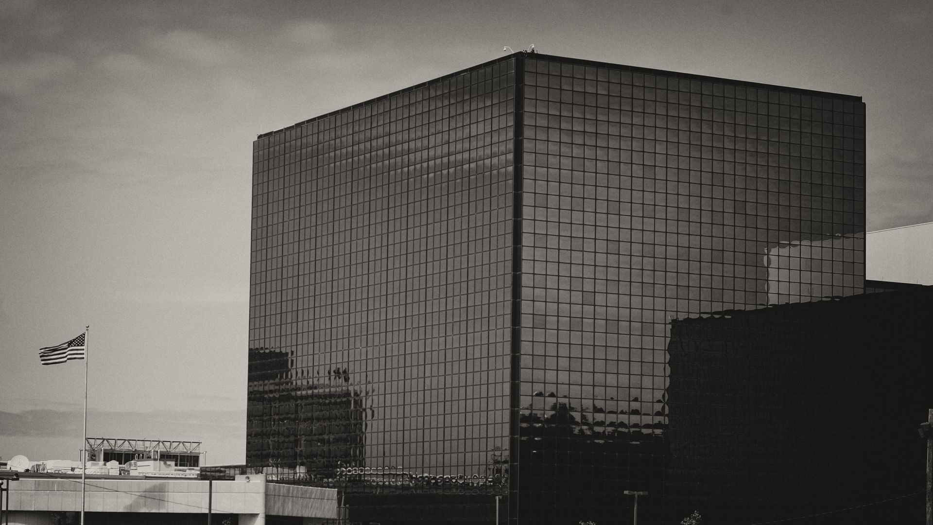 A grayscale photo of the headquarters of the National Security Agency