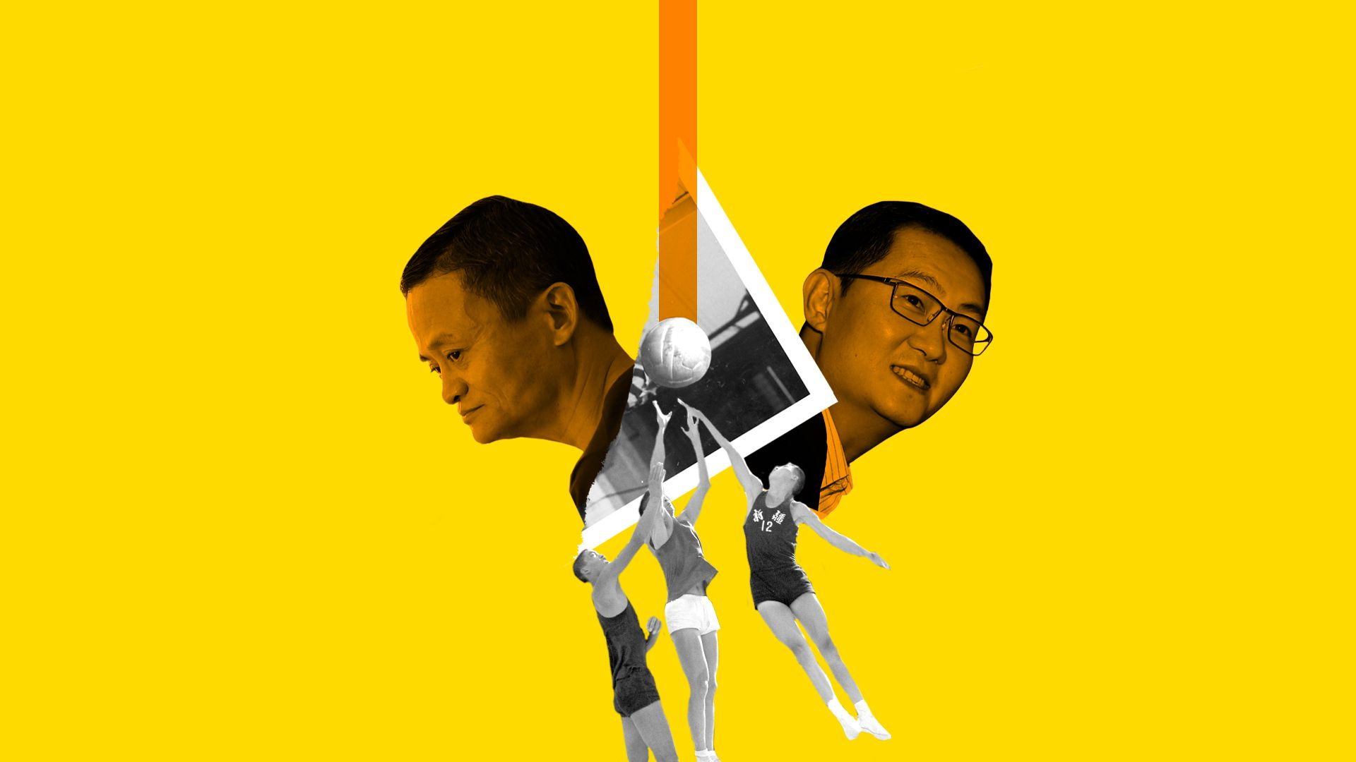 Collage illustration of Jack Ma, Alibaba, and Ma Huateng, Tenecent, over a historical image of basketball players from China.