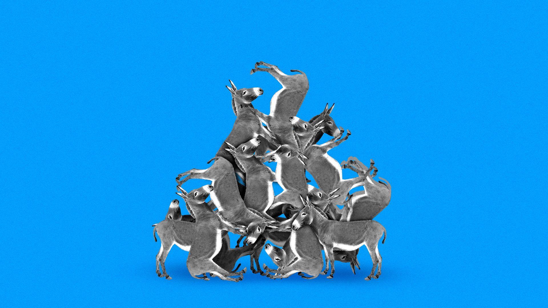 Illustration of a pile of donkeys.