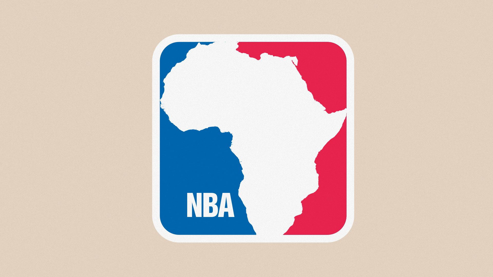 Illustration of NBA logo with person replaced with outline of Africa.