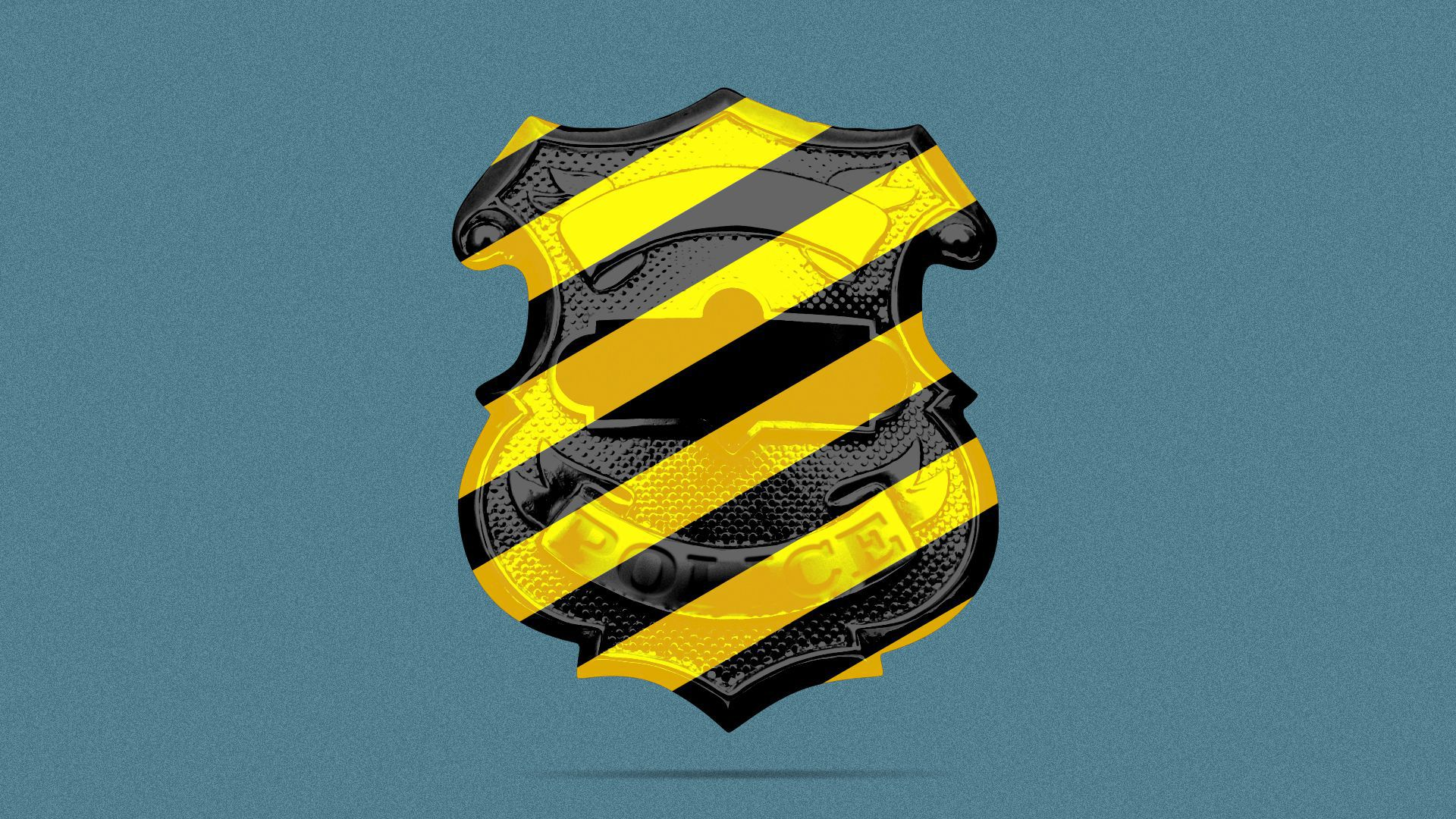 Illustration of a police badge, with yellow and black stripes overlaid on it.