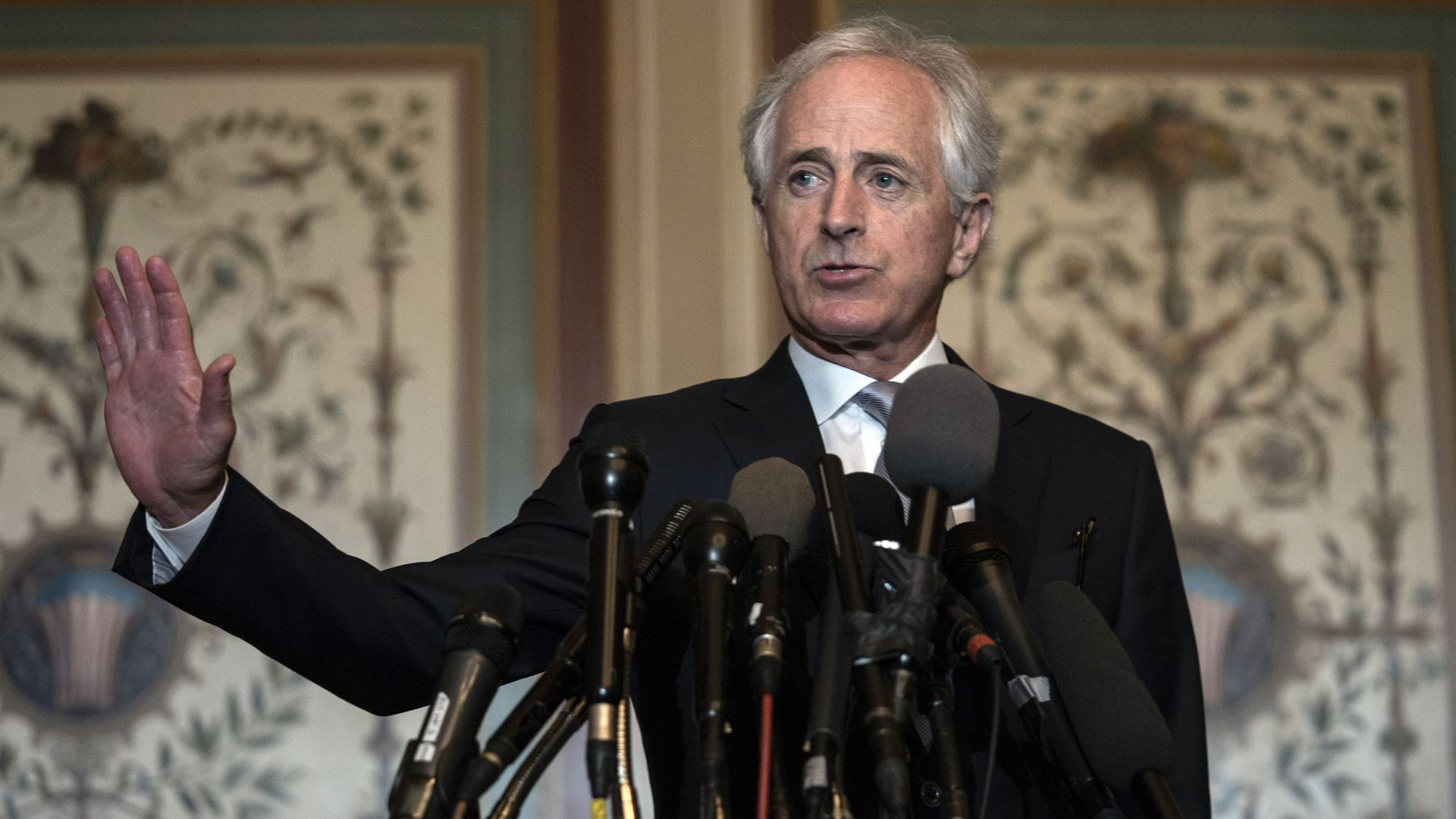 Bob Corker speaking at a podium.