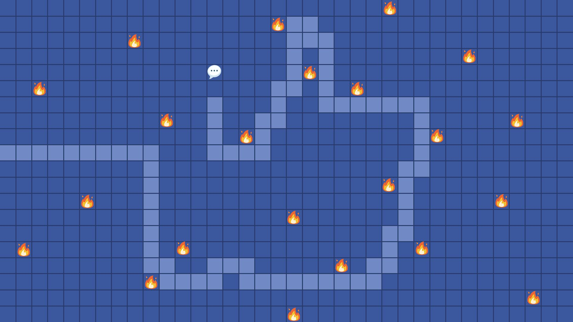 The Facebook logo superimposed into flaming version of the PC game Minesweeper.