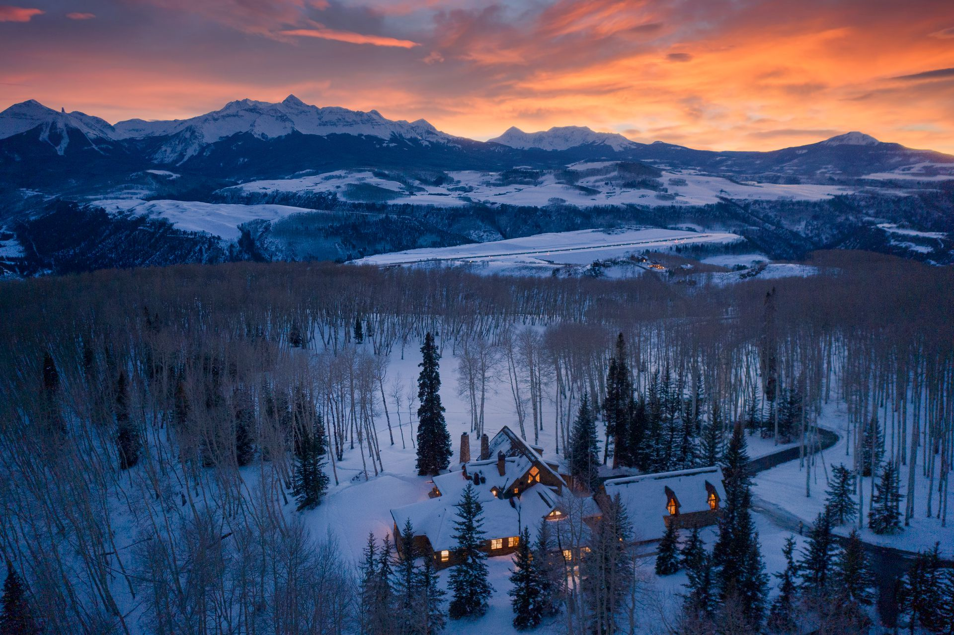 Tom Cruise's Telluride Ranch property at sunset
