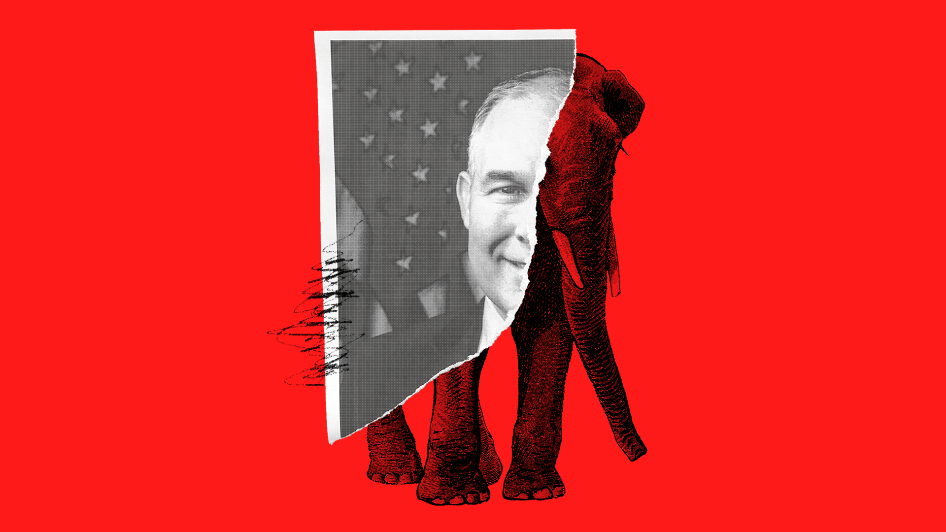 A ripped picture of Scott Pruitt with a Republican elephant peeking out behind it