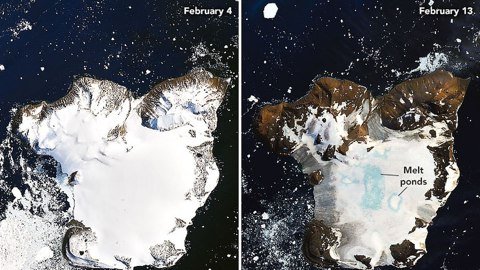 Images showing Antarctica melting under its hottest days on record
