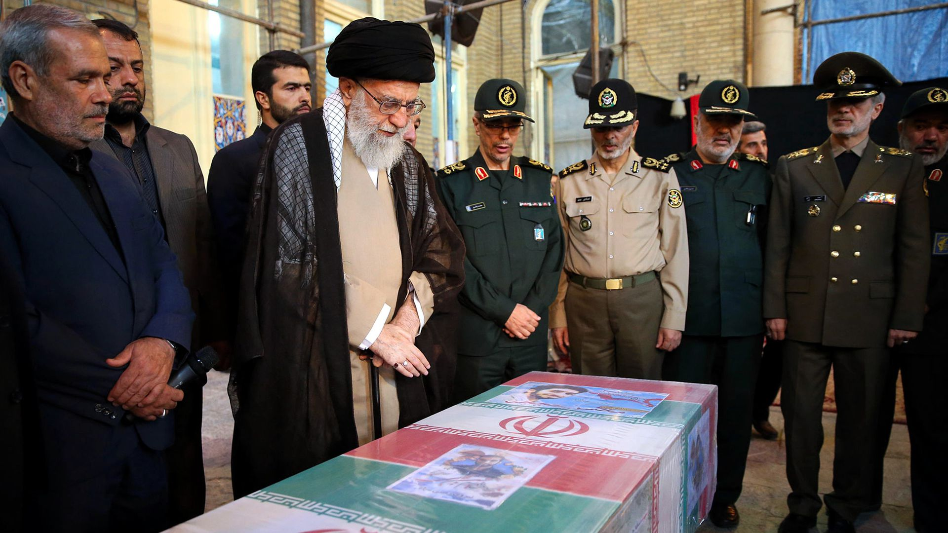 Supreme Leader of Iran, Ali Khamenei attends the funeral ceremony of a member of Islamic Revolutionary Guard Corps who died during a clash in Syria
