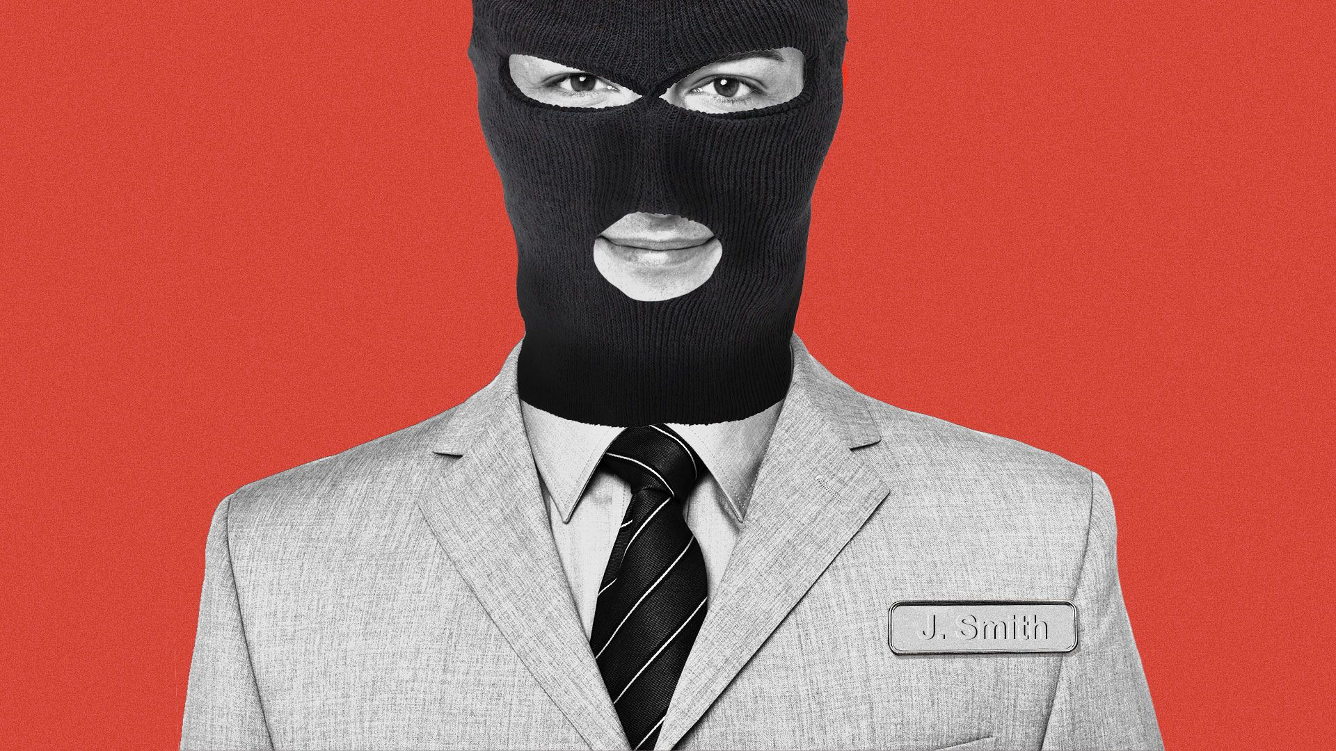 Illustration of an employee with a name tag, wearing a balaclava over his face.