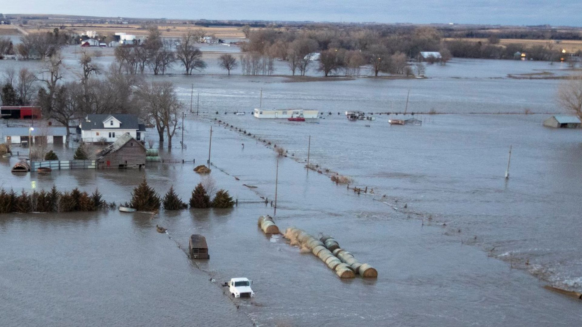 This Nebraska National Guard photo shows the devastating impact of the flooding.