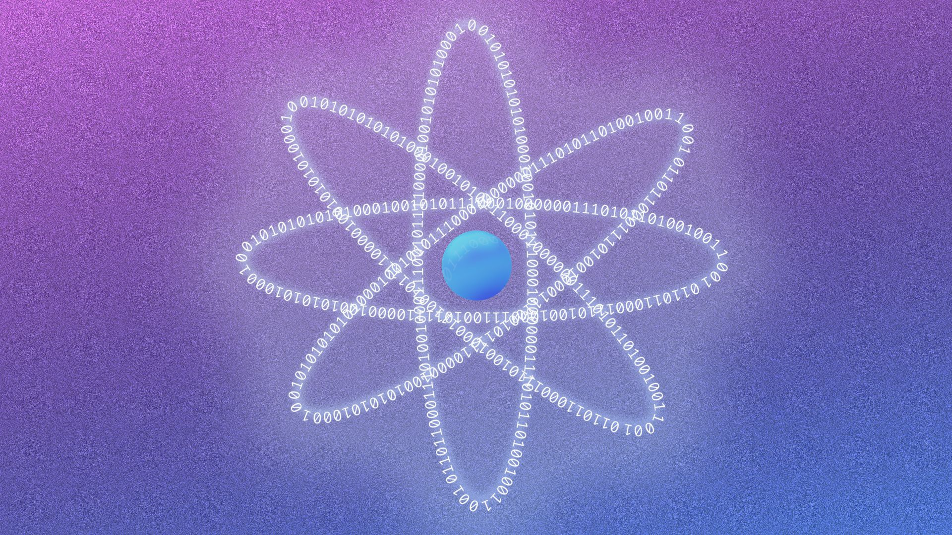 A blue orb is surrounded by binary strings, in the shape of an atom.