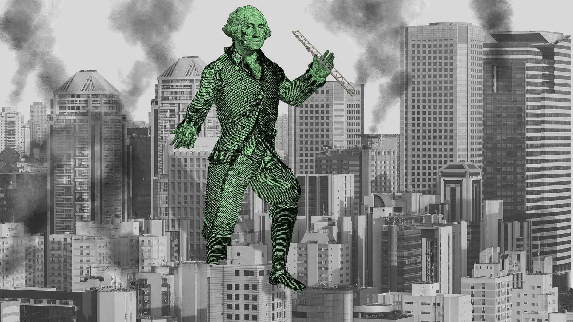 Illustration of giant George Washington stomping through a city