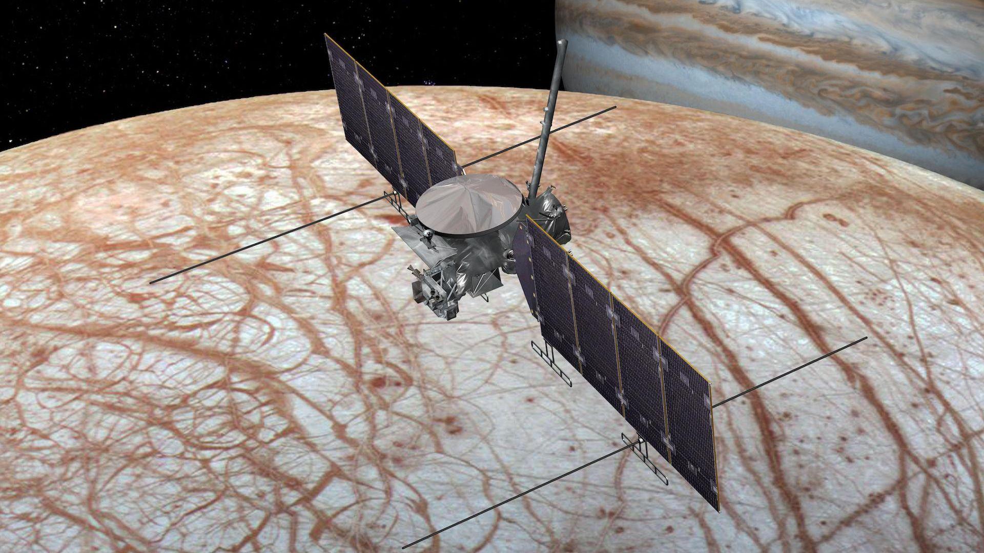 Artist's illustration of the Europa Clipper orbiter over Europa.