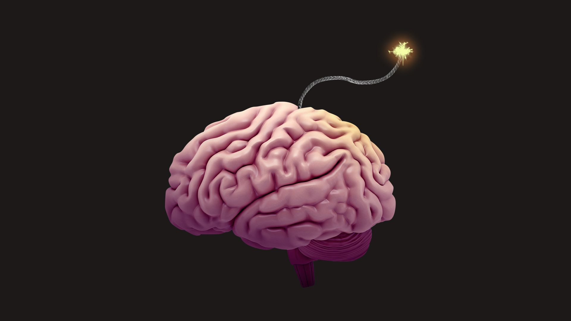 Illustration of a brain with a lit wick as if it were a bomb.