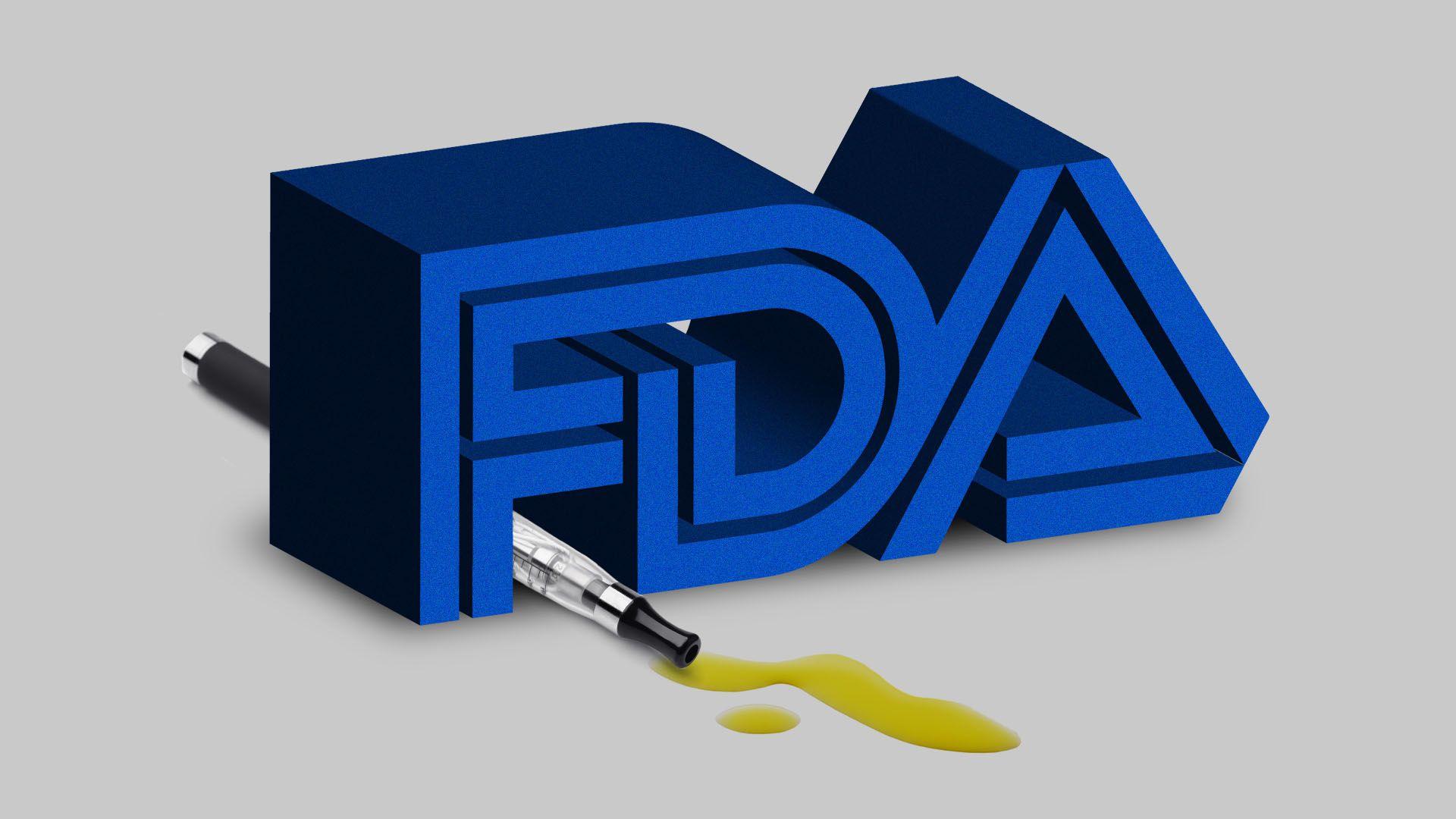 Illustration of FDA logo over a e-cigarette