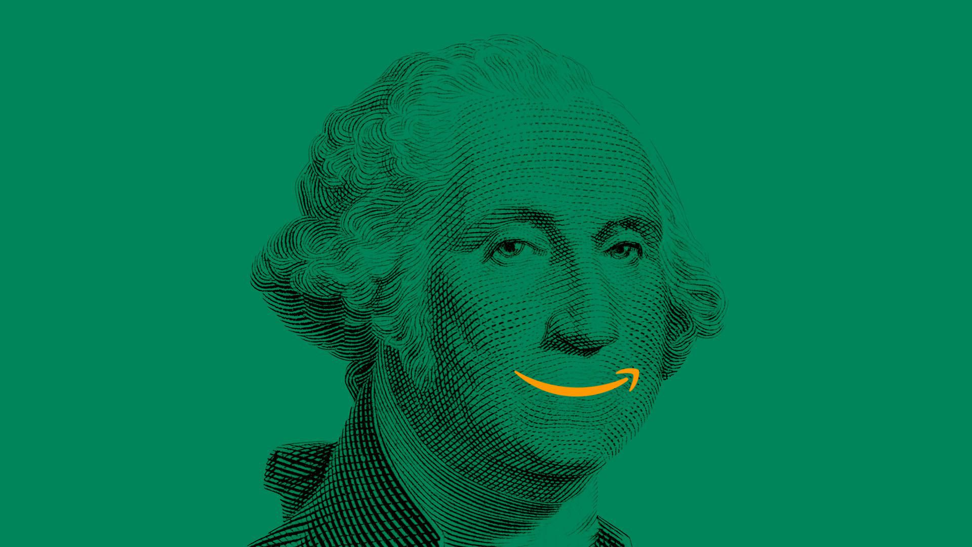 An illustration of George Washington with an Amazon smile logo as his mouth.
