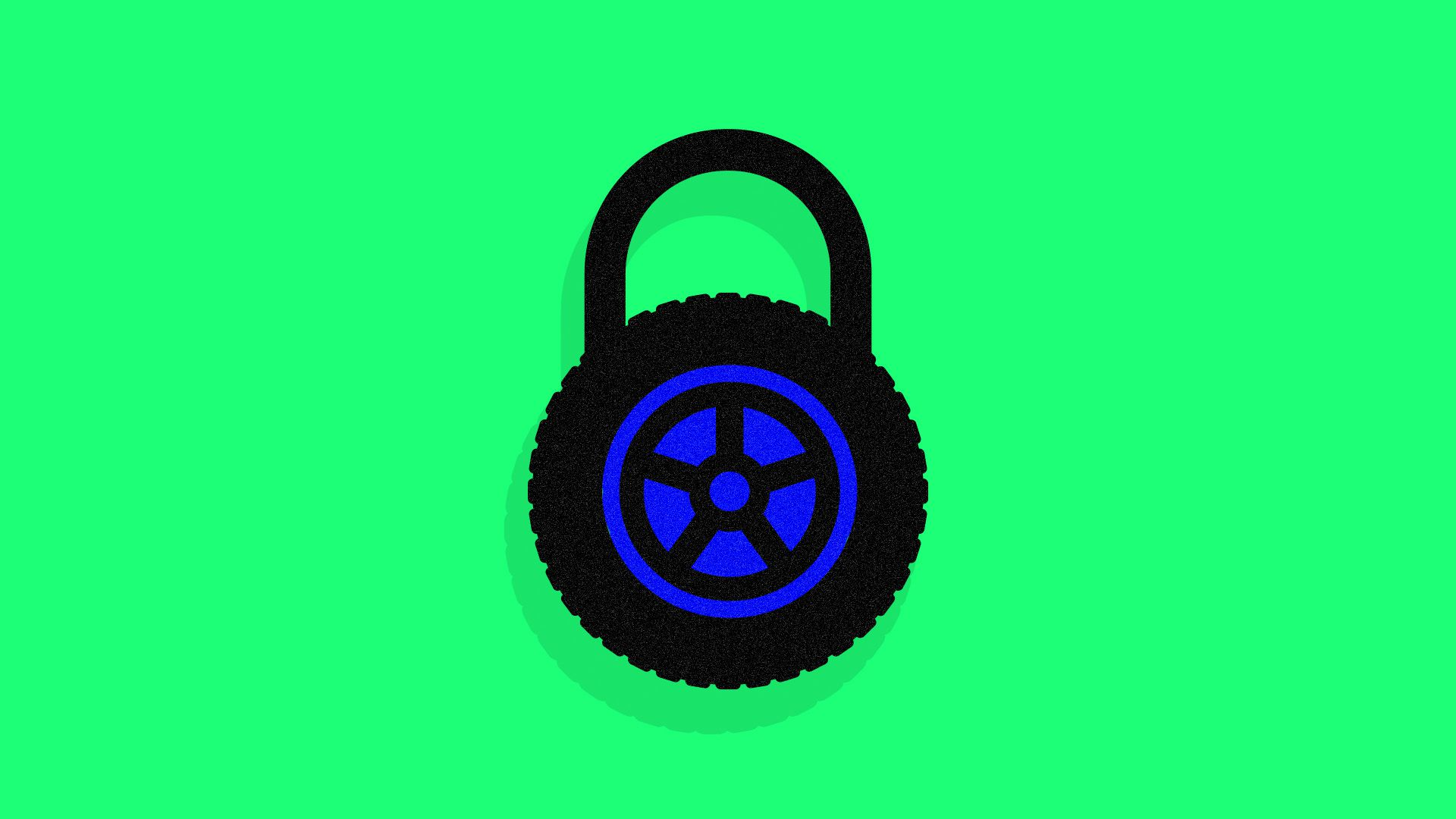 Illustration of a padlock made out of a tire