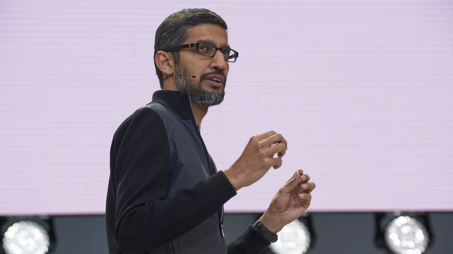 Google CEO Sundar Pichai speaking at I/O 2017