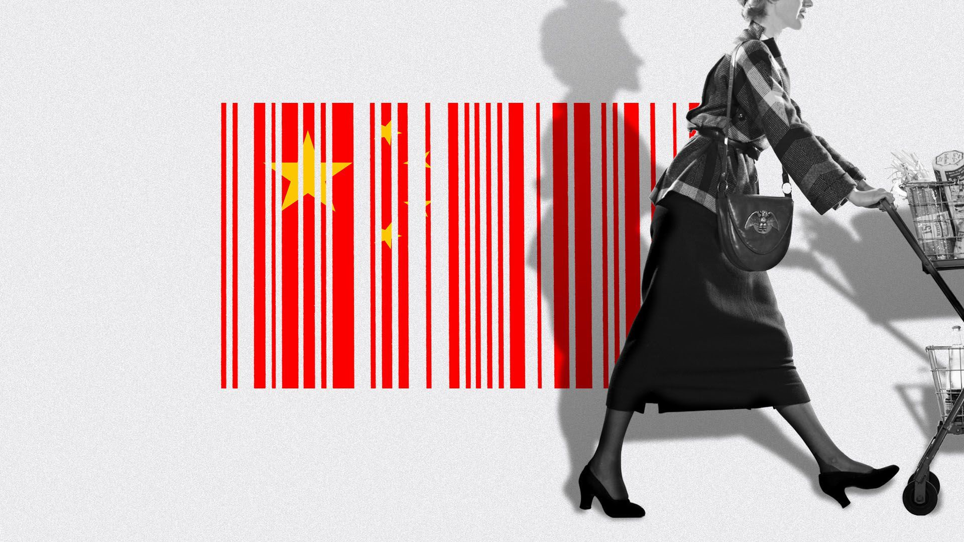 An illustration of a chinese flag that looks like a bar code.