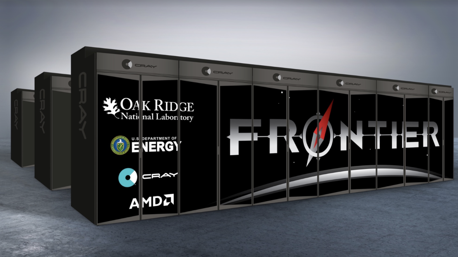 A rendering of the Frontier supercomputer being built for the US Department of Energy